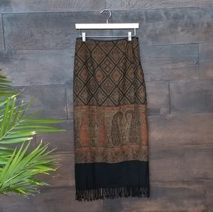 Faux Wrap Skirt Wool Tapestry Fabric With Fringe